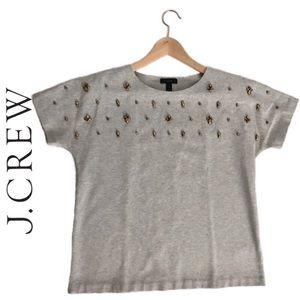 NWOT | J. Crew Jeweled Top | Short Sleeve | Size M